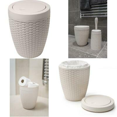 New Addis Faux Rattan Round Bathroom Bin With Swing Lid Natural Calico Linen 5 L • 15.53£