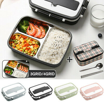 AU31.27 • Buy Portable Stainless Steel Thermos Lunch Box Bento Food Container Kids Adult +