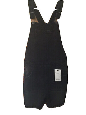 Girl M&S DUNGAREES SHORTS STYLE Age 7-8 Years Black Denim Adjustable BNWTS 9204 • 13.95£