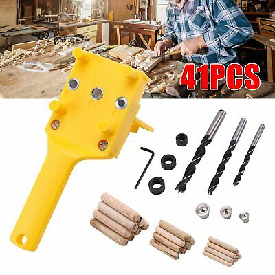 Handheld Woodworking Doweling Jig Drill Guide Wood Dowel Drilling Hole Saw Kit • 8.29£