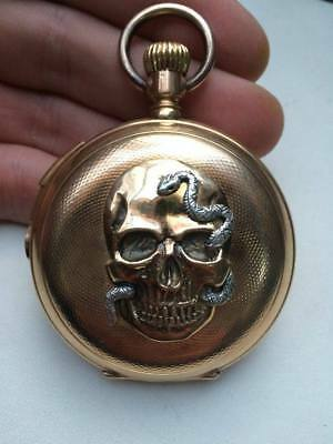 £7041.75 • Buy Antique 14k Gold Memento Mori Doctor's Minute Repeater Chronograph Pocket Watch