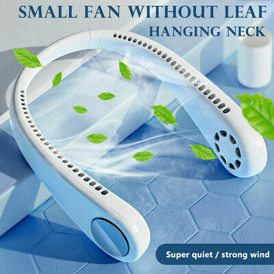 AU32.89 • Buy Portable USB Leafless Neck Fan Cooler Rechargeable Dual Effect Cooling Neckband