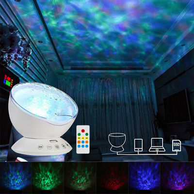 Relaxing Music LED Night Light Ocean Wave Projector Remote Lamp Baby Sleep Gift • 13.39£