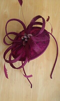 Sinamay Headband Pink Fascinator - Feathers Crystal Beads Sequins - LOVELY • 4.55£