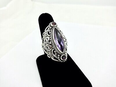 Sarda Large Chunky Pierced Sterling Silver Amethyst Pink Topaz Cocktail Ring,9 • 7.69£