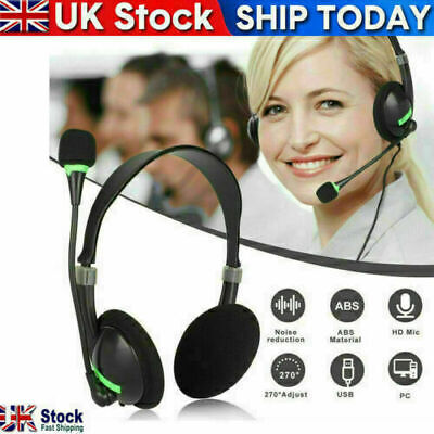 USB Headphones With Microphone Noise Cancelling Headset For Skype Laptop UK • 6.59£