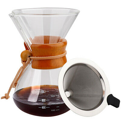 Coffee Maker Set Pour Over Hand Drip Pot + Cone Coffee Dripper Filter Net 400ml • 15.69£
