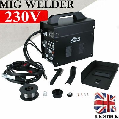 MIG-130 Welder Gasless Flux Core Wire 240V Auto Feed Welding Machine MIG Welder • 70.89£