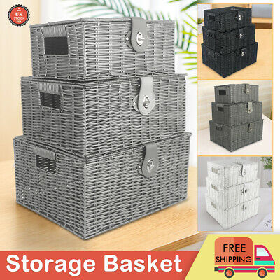SET OF 3 Storage Baskets Resin Wicker Woven Hamper Tidy Box With Lid & Lock New • 17.99£