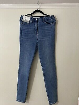 Next High Waisted Skinny Jeans Blue Size 12L (long Leg) • 10.50£