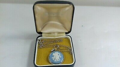 Vintage Wedgwood Blue Jasperware Sterling Silver Pendant + Necklace Chain  Boxed • 6.99£