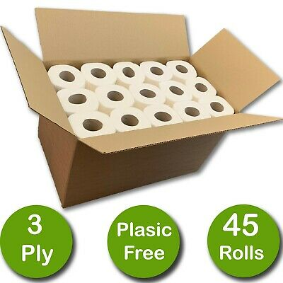45 Rolls Of Luxury 100% Plastic Free Eco 3 Ply Unscented Bathroom Toilet Roll • 15.60£