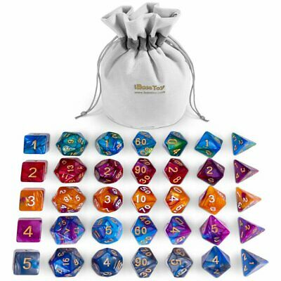 AU24.99 • Buy 35Pcs Set Acrylic Polyhedral Dice + Bag For DND RPG MTG Role Playing Board Game
