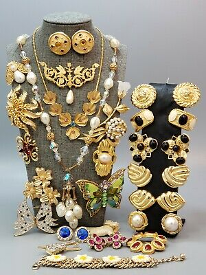 $ CDN312.50 • Buy HIGH QUALITY Vintage Lot Necklaces Brooches Bracelet Earrings Clear Rhinestones