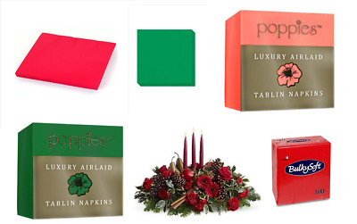 Christmas Colours Paper Or Airlaid Linen Feel Luxury Quality Paper Napkins • 1.49£
