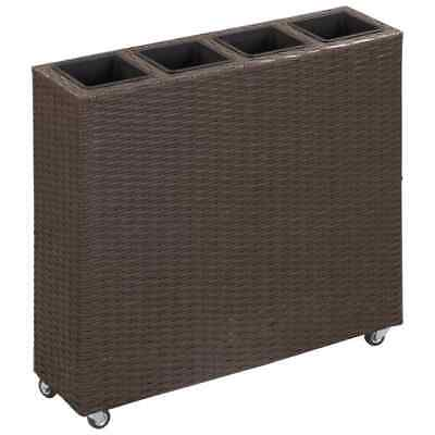 VidaXL Garden Raised Bed With 4 Pots Poly Rattan Brown Outdoor Flower Box Sets • 73.99£