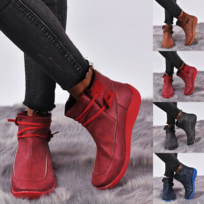 Women Fashion Arch Support Ankle Boots Ladies Lace Up Casual Flat Comfort Shoes • 13.69£