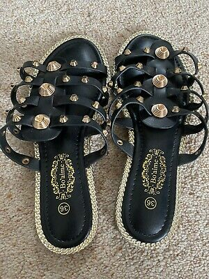 Gold And Black Sandals - Gladiator Style • 10£