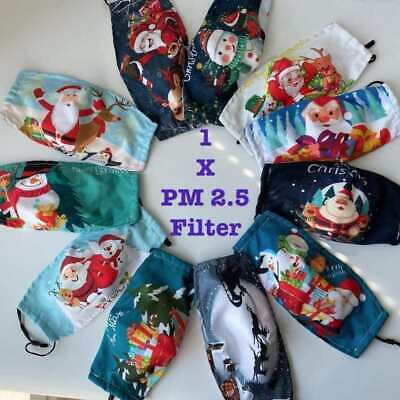 Christmas Face Mask Covering Washable Reusable Breathable With  Pm 2.5 Filter  • 3.99£