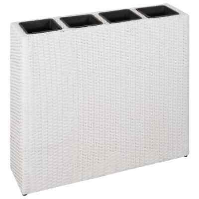 VidaXL Garden Raised Bed With 4 Pots Poly Rattan White Flower Box Raised Bed • 59.99£