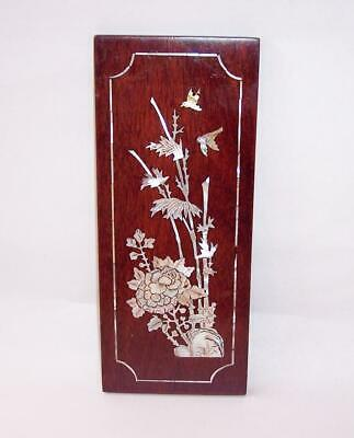 Vintage ORIENTAL WOODEN Wall HANGING With MOTHER Of PEARL Inlay FLOWERS & BIRD • 7£