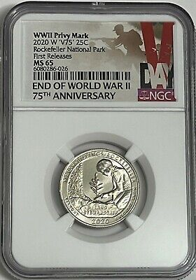 $ CDN131.80 • Buy 2020 W MARSH BILLINGS ROCKEFELLER NGC MS65 V75 WWII PRIVY QUARTER 25c WEST POINT