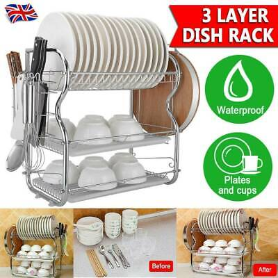 3 Tier Kitchen Chrome Dish Drainer Cutlery Cup Plates Holder Sink Rack Drip Tray • 13.19£