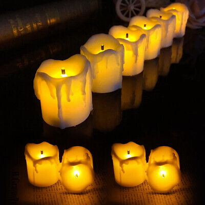 Battery 12Piec Dripping Fake Wax Church Pillar Electronic LED Candle Mood Lights • 7.95£