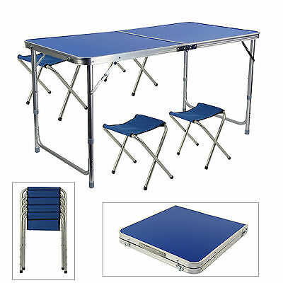 Portable Folding Table With 4 Chairs Kit For Camping Party Picnic Garden Dining • 24.39£