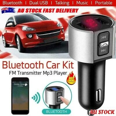 AU11.95 • Buy Handsfree Wireless Bluetooth Car FM Transmitter Radio MP3 Player USB Charger Kit