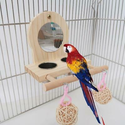 Parrot Mirror Play Stand Wooden Perch Playgym With Feeder Cup Bowls Rattan Ball • 10.59£