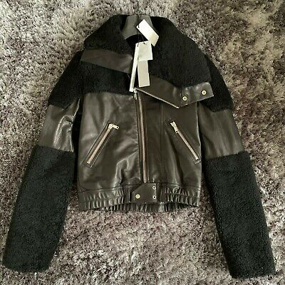 RICK OWENS Shearling And Leather Jacket Size IT 44 / UK 12 / US 8  - FW 20 / 21 • 999.99£