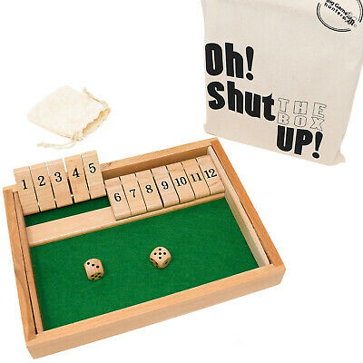 £14.95 • Buy Shut The Box Game With 12 Durable Numbers, Wooden Dice, Printed Cotton Tote Bag