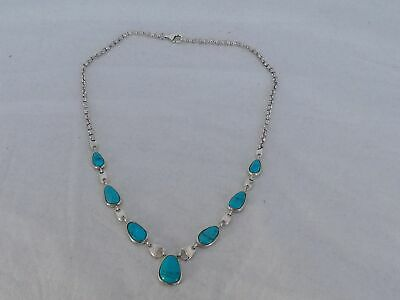 $ CDN48.39 • Buy Designer Sterling Silver WK Inlaid Turquoise Necklace AH-23