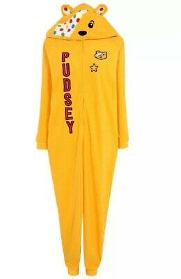BNWT Pudsey Bear Children In Need Adults Extra Small Hooded All In One Onesie • 9.99£