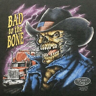 $ CDN849.32 • Buy Vintage 3D Emblem Bad To The Bone Truckers Only T Shirt Harley Davidson Size XL