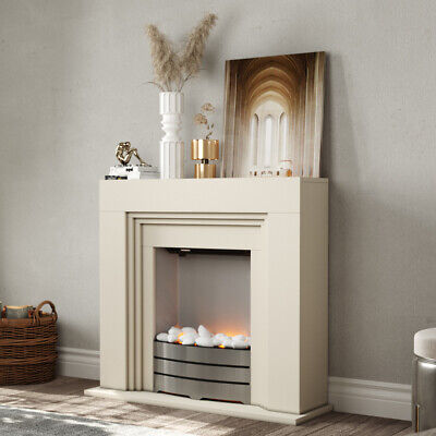FreeStanding Electric Fireplace MDF White Surround With Steel Fire Flicker Flame • 227.94£