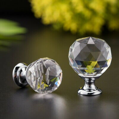 2PCS Diamond Clear Crystal Door Knobs For Drawer Cabinet Kitchen Wardrobe Handle • 8.26£