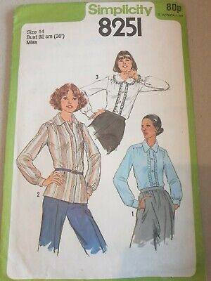 Simplicity 8251 Sewing Pattern Ladies Shirt Bust 36 92cm Size 14 CUT Blouse • 4.99£