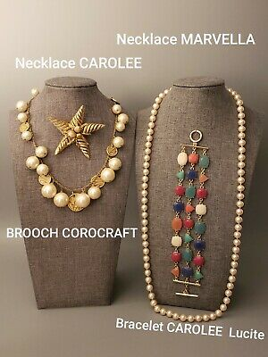 $ CDN30.07 • Buy Vintage Lot All Signed CAROLEE COROCRAFT MARVELLA Necklaces Bracelet Brooch