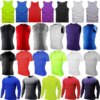 Men's Boy's Compression Tee Base Layer Gym Fitness Thermal Casual Tops T-Shirt • 7.29£