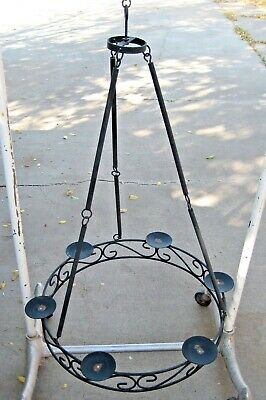 Vtintage Wrought Iron Candle Chandelier 20  Black Gothic Tudor Medieval  • 73.66£