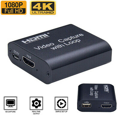4K HD 1080P 60fps HDMI Video Capture Card USB 2.0 Mic Game Record Live Streaming • 13.99£