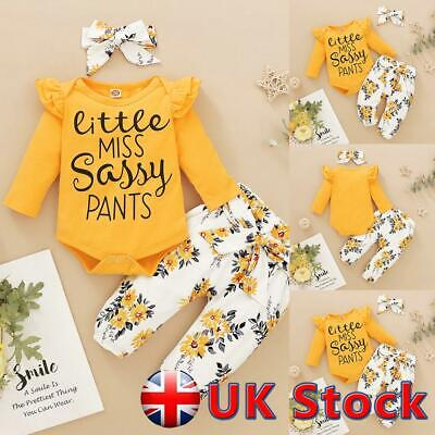 UK Newborn Baby Girl Clothes Ruffle Romper Tops Pants Headband Set Floral Outfit • 9.34£