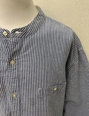 Orvis Men's Blue Mix Striped Long Sleeve Linen Cotton Grandad Collar Shirt - XXL • 7.50£
