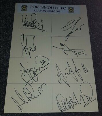 Portsmouth Fc 2004/5 Squad Hand Signed A4 Card • 7.99£