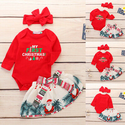 AU19.99 • Buy Newborn Baby Girl MY First Christmas Top Romper+Dress+Headband Clothes Outfit