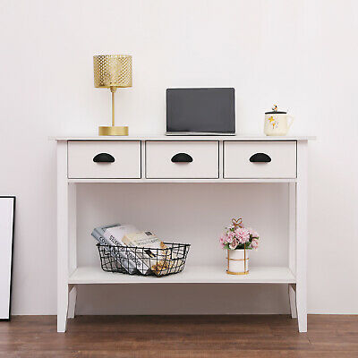Modern White Console Table With 3 Drawers Hall Desk Shelf Storage Furniture • 69.99£