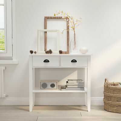 Modern White Console Table With 2 Drawers Hall Desk Shelf Storage Furniture • 57.99£