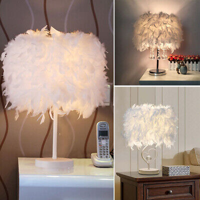 Table Lamp White Fluffy Feather LED Desk Bedside Night Light Home Room Decor NEW • 19.14£
